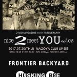 2YOU MAGAZINE10周年企画「nice2meetYOU vol.3」FRONTIER BACKYARD、HUSKING BEE、Keishi Tanaka出演